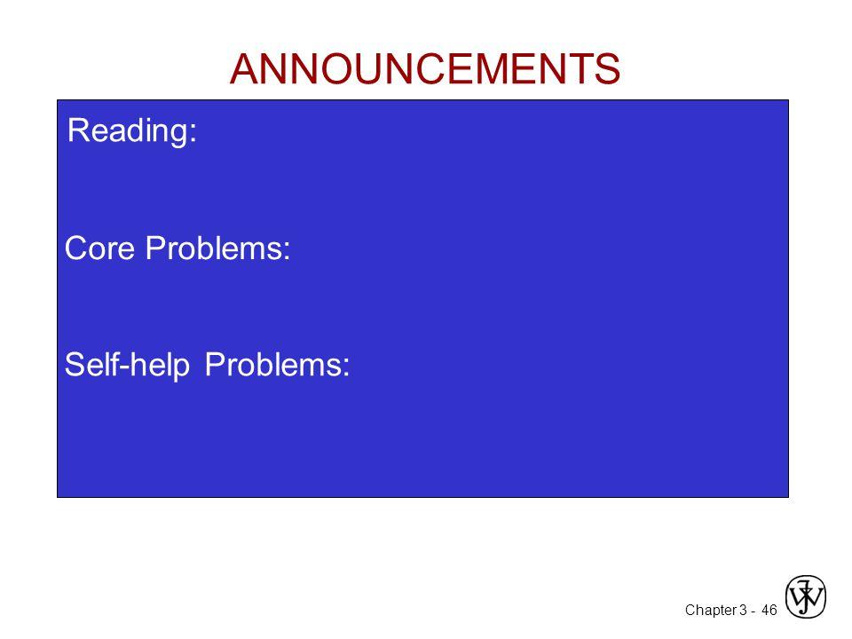 ANNOUNCEMENTS Reading: Core Problems: Self-help Problems: