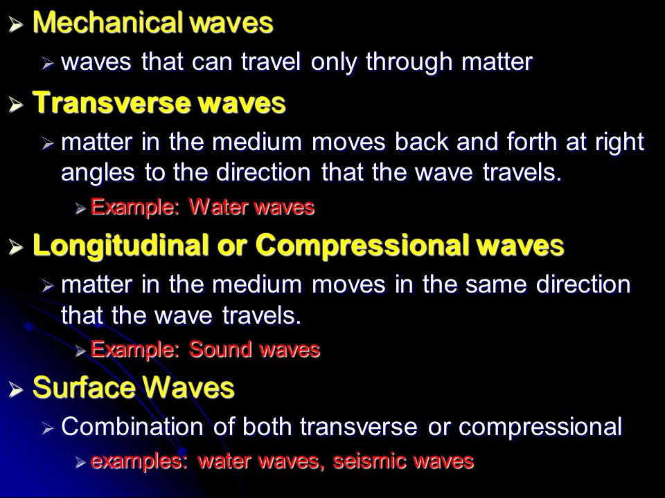 Longitudinal or Compressional waves