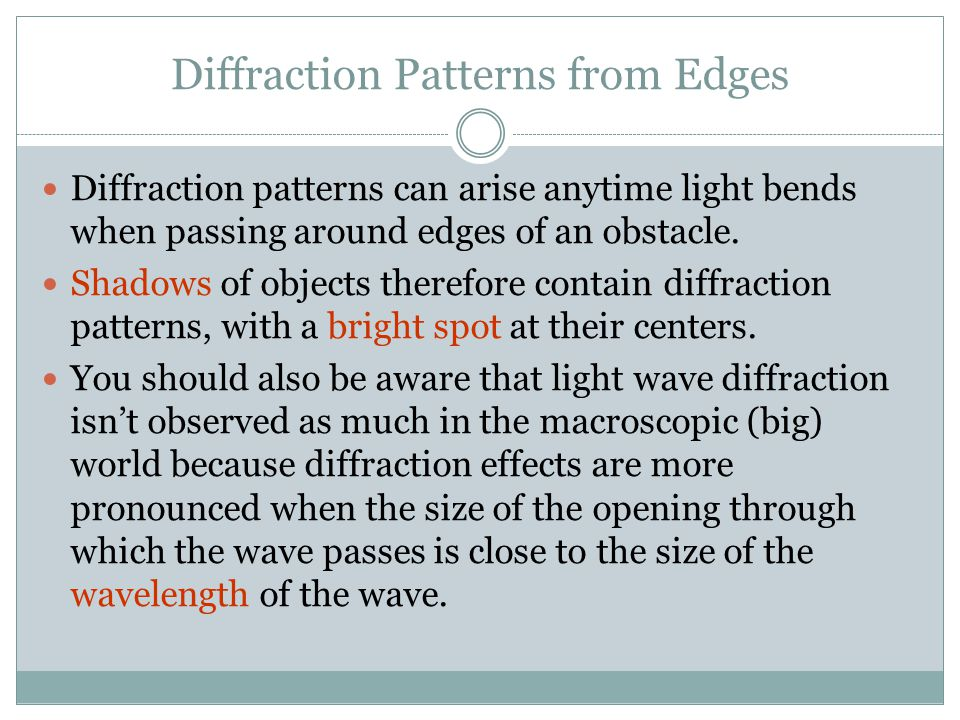 Diffraction Patterns from Edges