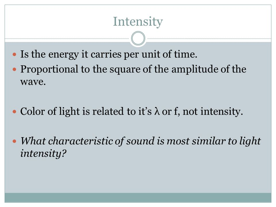 Intensity Is the energy it carries per unit of time.