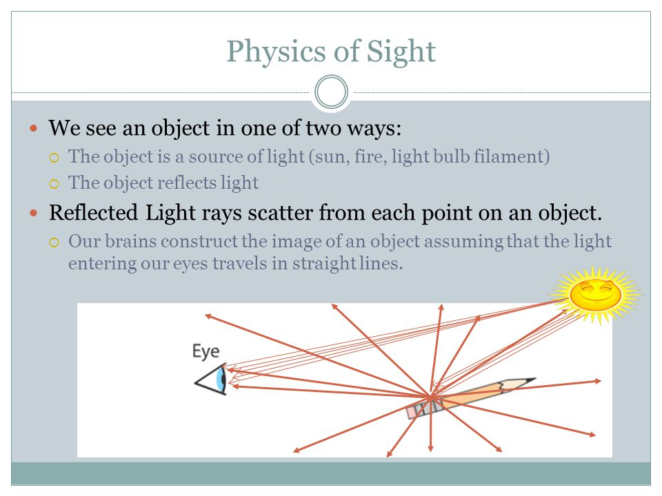 Physics of Sight We see an object in one of two ways: