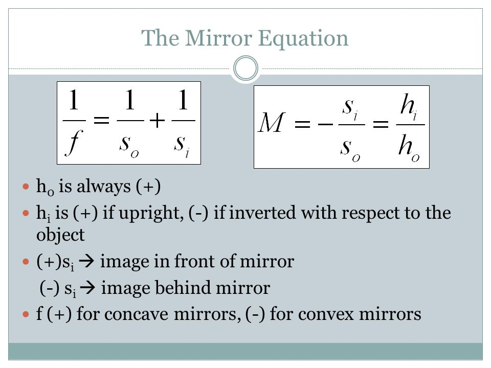 The Mirror Equation h0 is always (+)