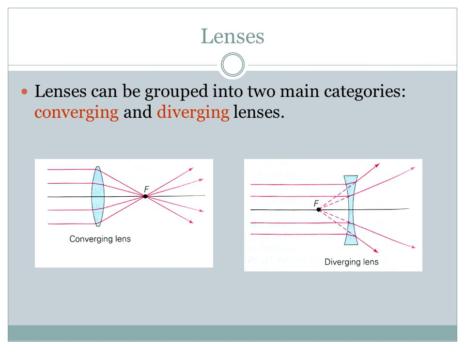 Lenses Lenses can be grouped into two main categories: converging and diverging lenses.