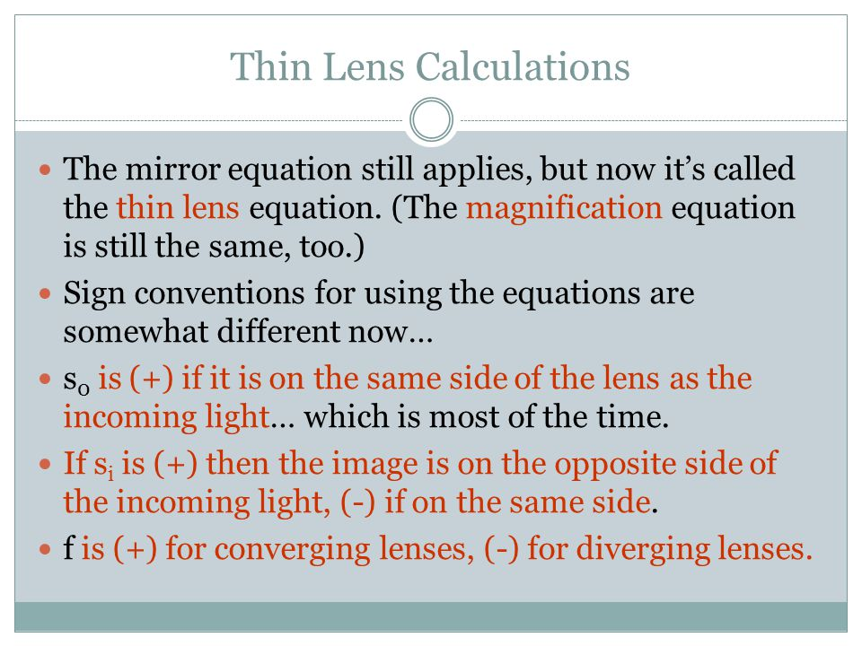 Thin Lens Calculations