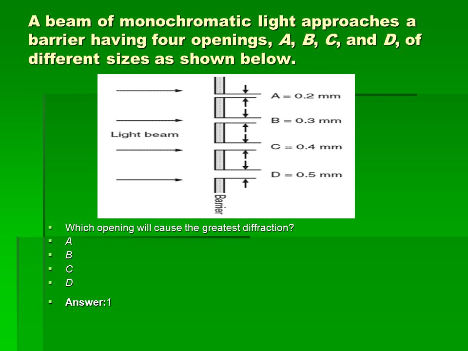 A beam of monochromatic light approaches a barrier having four openings, A, B, C, and D, of different sizes as shown below.