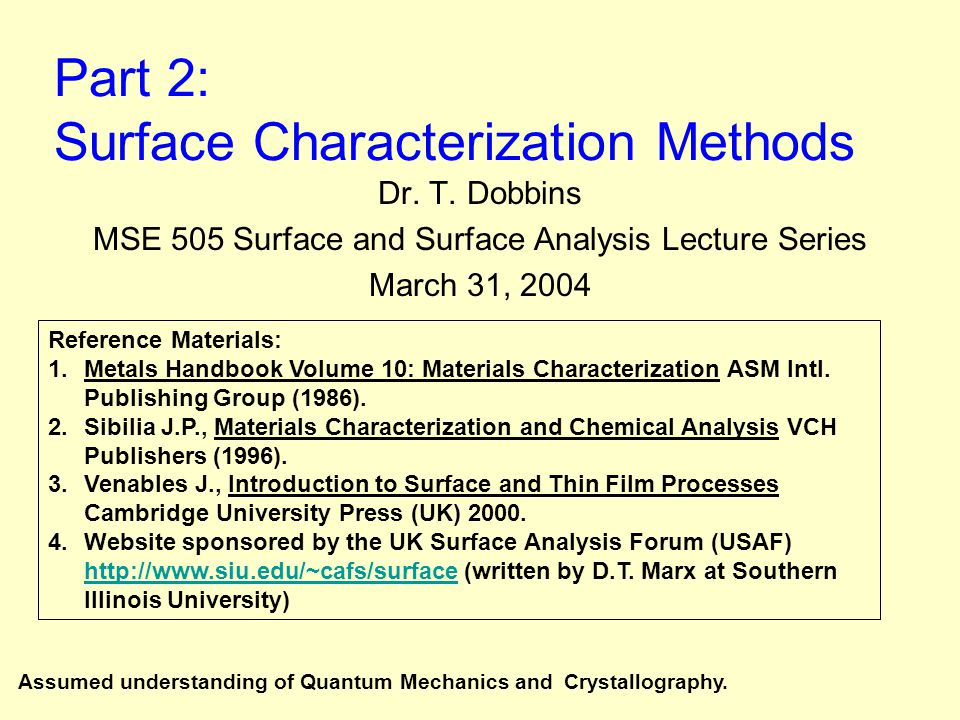 Part 2: Surface Characterization Methods