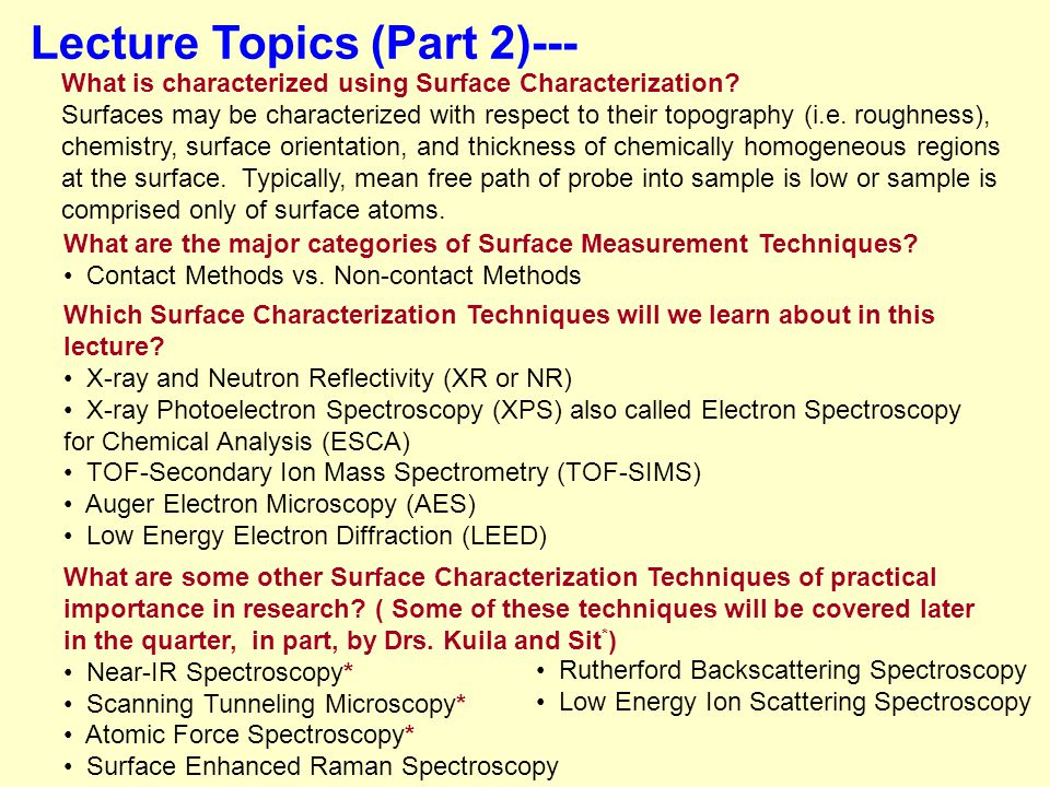 Lecture Topics (Part 2)---