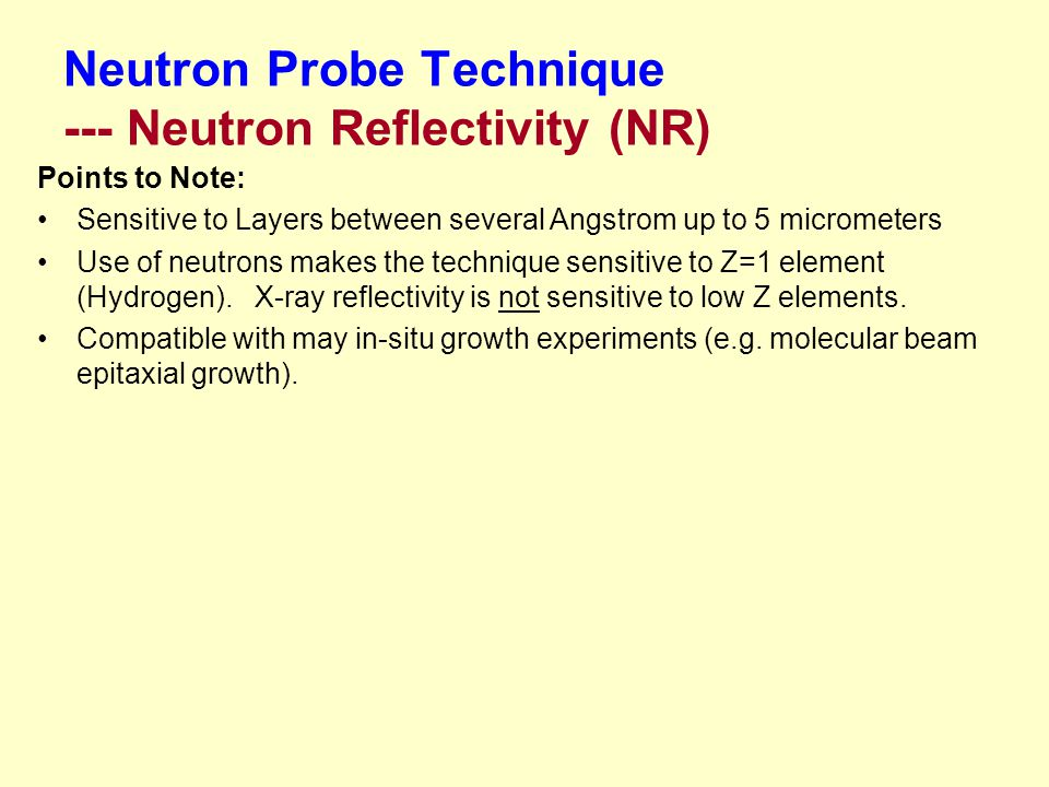 Neutron Probe Technique --- Neutron Reflectivity (NR)