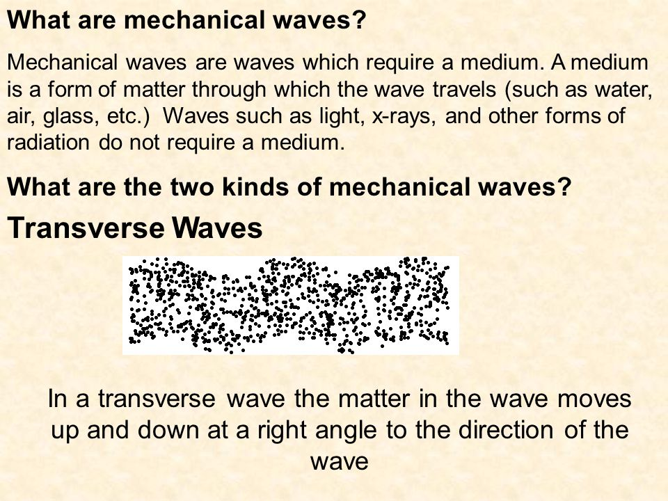 Transverse Waves What are mechanical waves