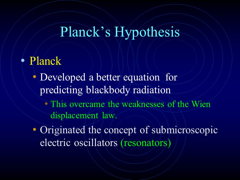Planck's Hypothesis Planck