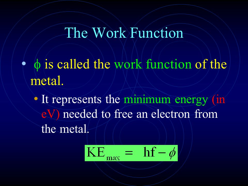 The Work Function f is called the work function of the metal.