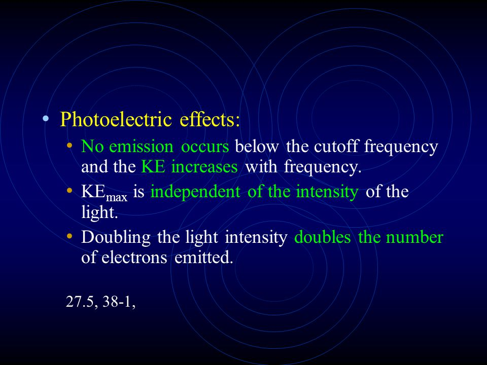 Photoelectric effects: