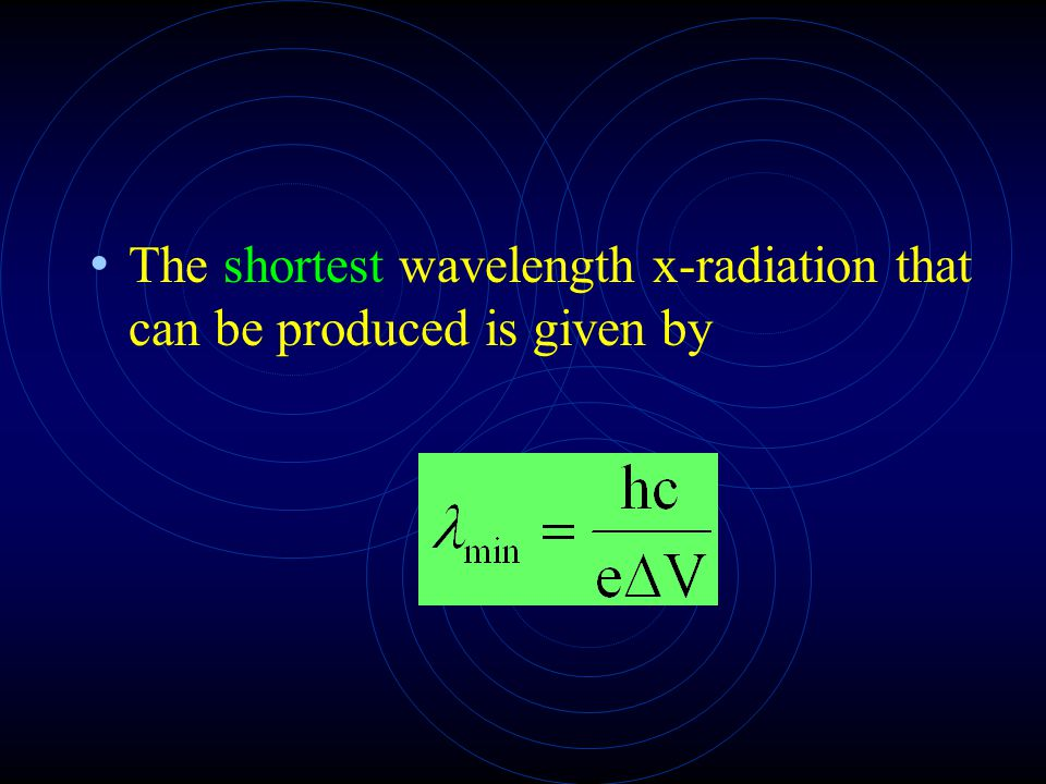 The shortest wavelength x-radiation that can be produced is given by