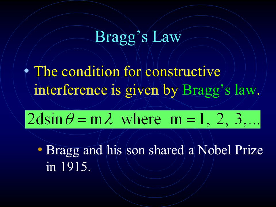 Bragg's Law The condition for constructive interference is given by Bragg's law.