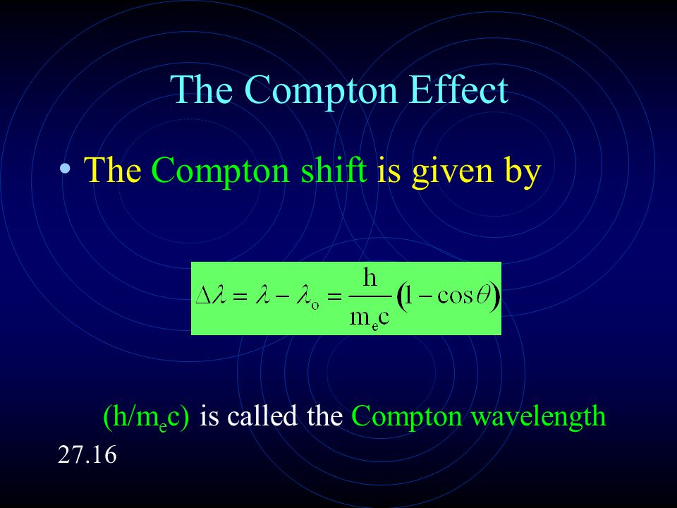 The Compton Effect The Compton shift is given by