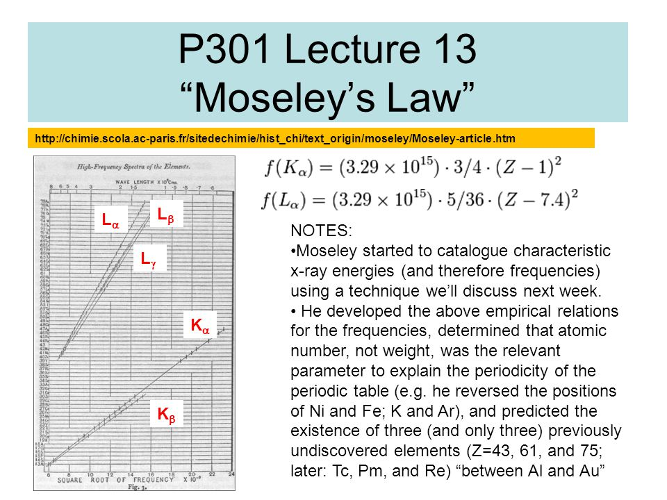 P301 Lecture 13 Moseley's Law