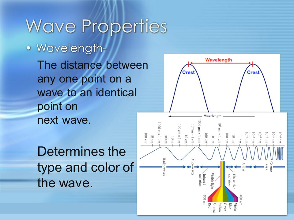 Wave Properties Determines the type and color of the wave. Wavelength-