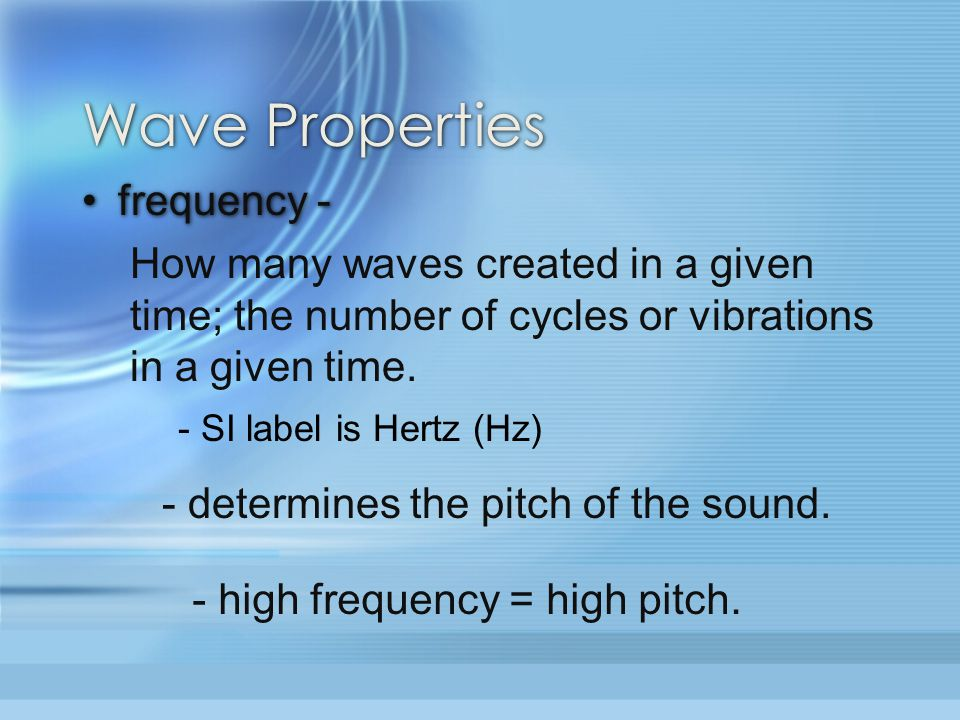 Wave Properties frequency -