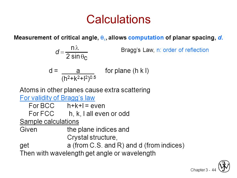 Calculations d = n l 2 sin q c d = a for plane (h k l) (h2+k2+l2)0.5