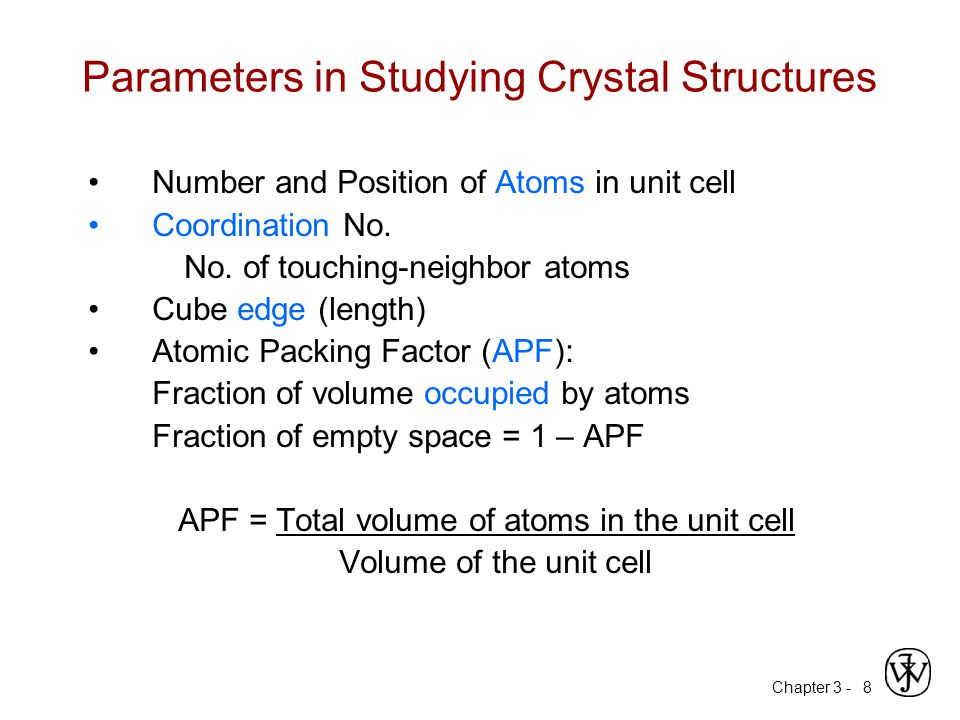 Parameters in Studying Crystal Structures