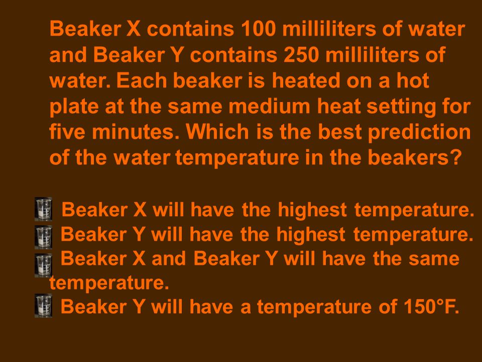 Beaker X contains 100 milliliters of water and Beaker Y contains 250 milliliters of water. Each beaker is heated on a hot plate at the same medium heat setting for five minutes. Which is the best prediction of the water temperature in the beakers