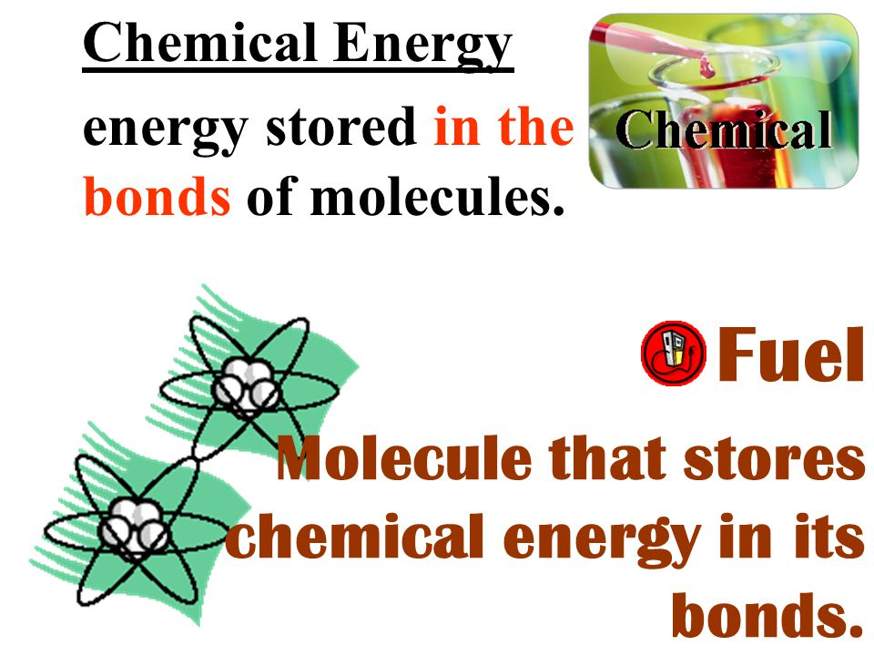 Fuel Molecule that stores chemical energy in its bonds.
