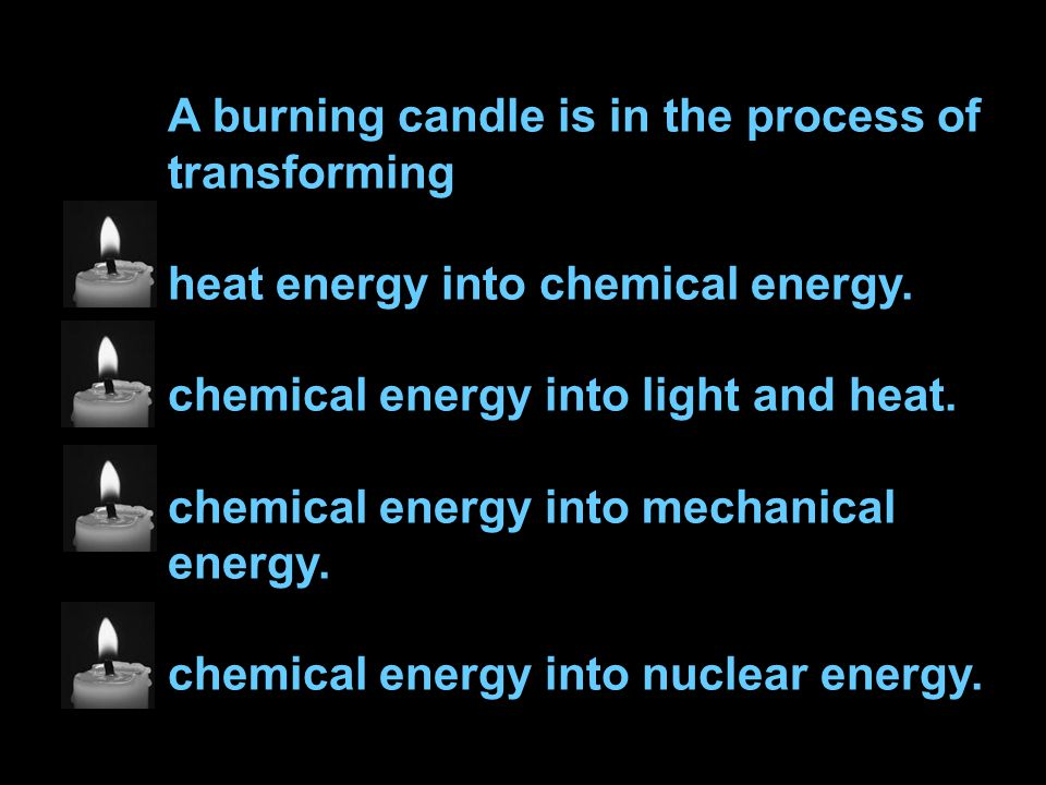 A burning candle is in the process of transforming heat energy into chemical energy.