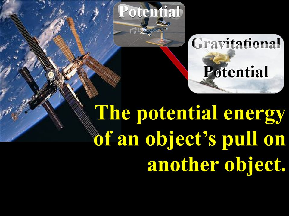 The potential energy of an object's pull on another object.
