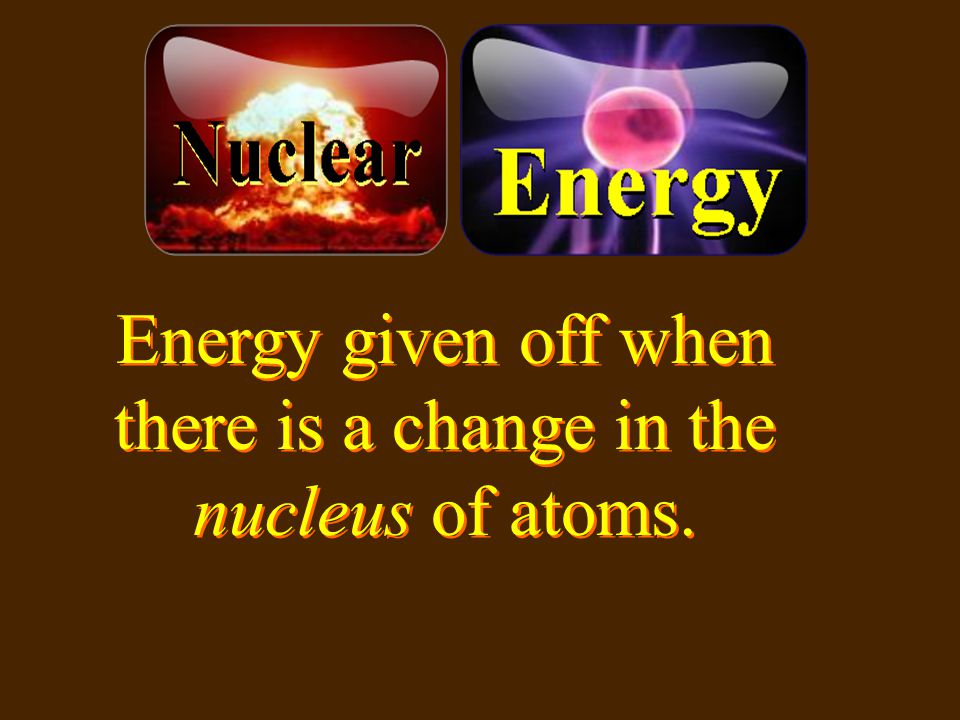 Energy given off when there is a change in the nucleus of atoms.