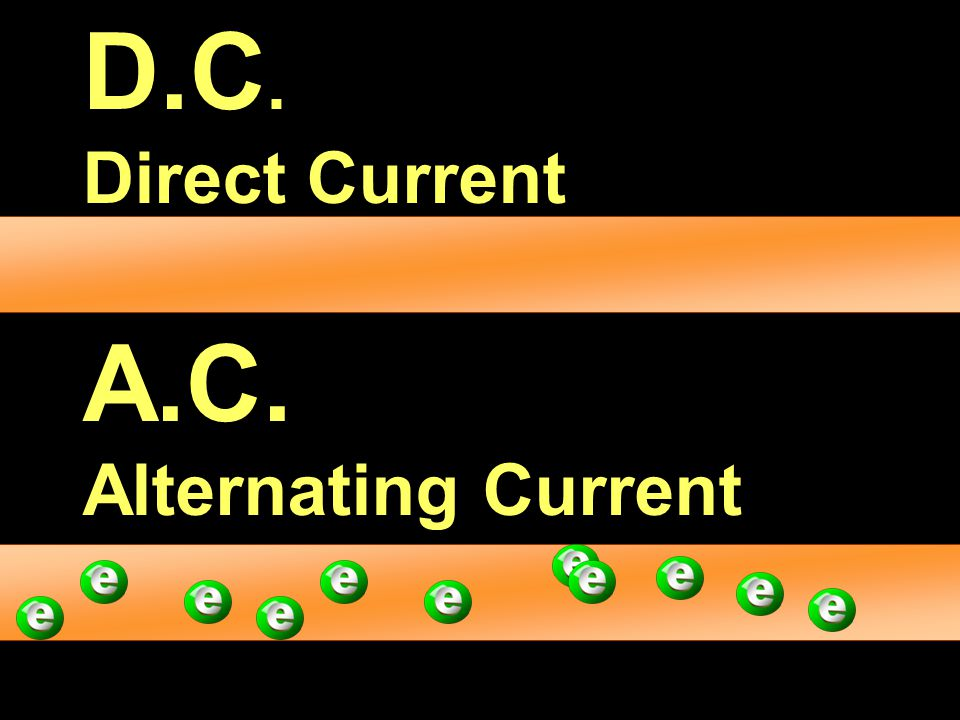 D.C. Direct Current A.C. Alternating Current
