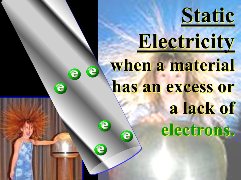 Static Electricity when a material has an excess or a lack of electrons.