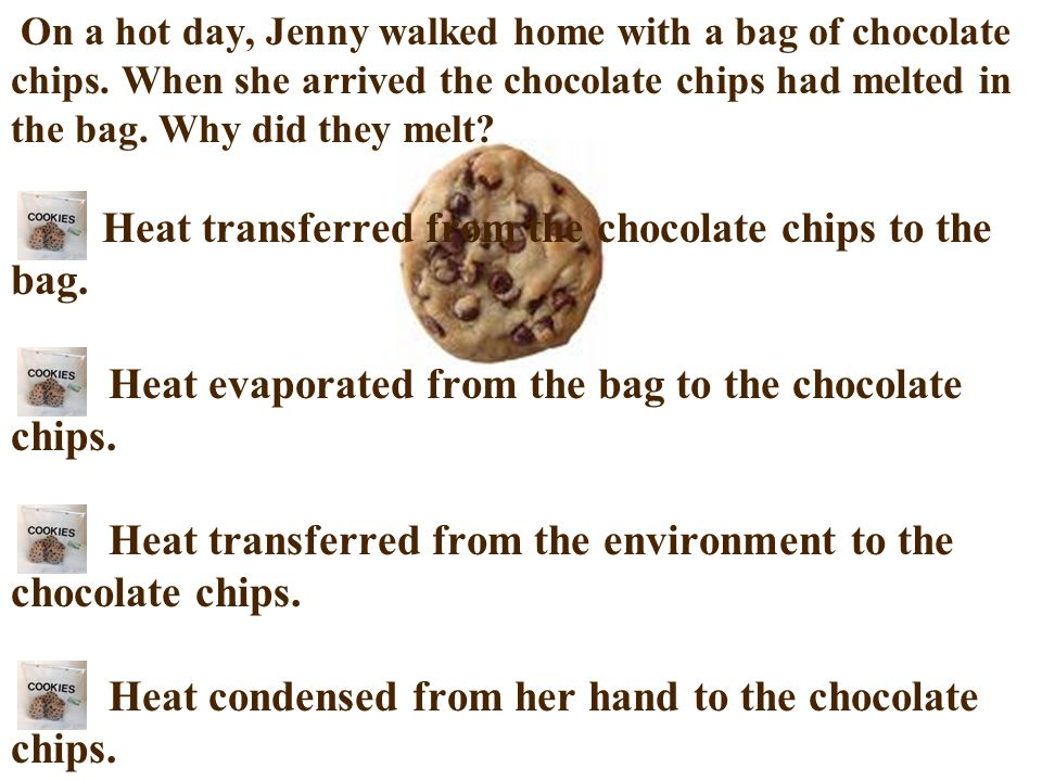 On a hot day, Jenny walked home with a bag of chocolate chips