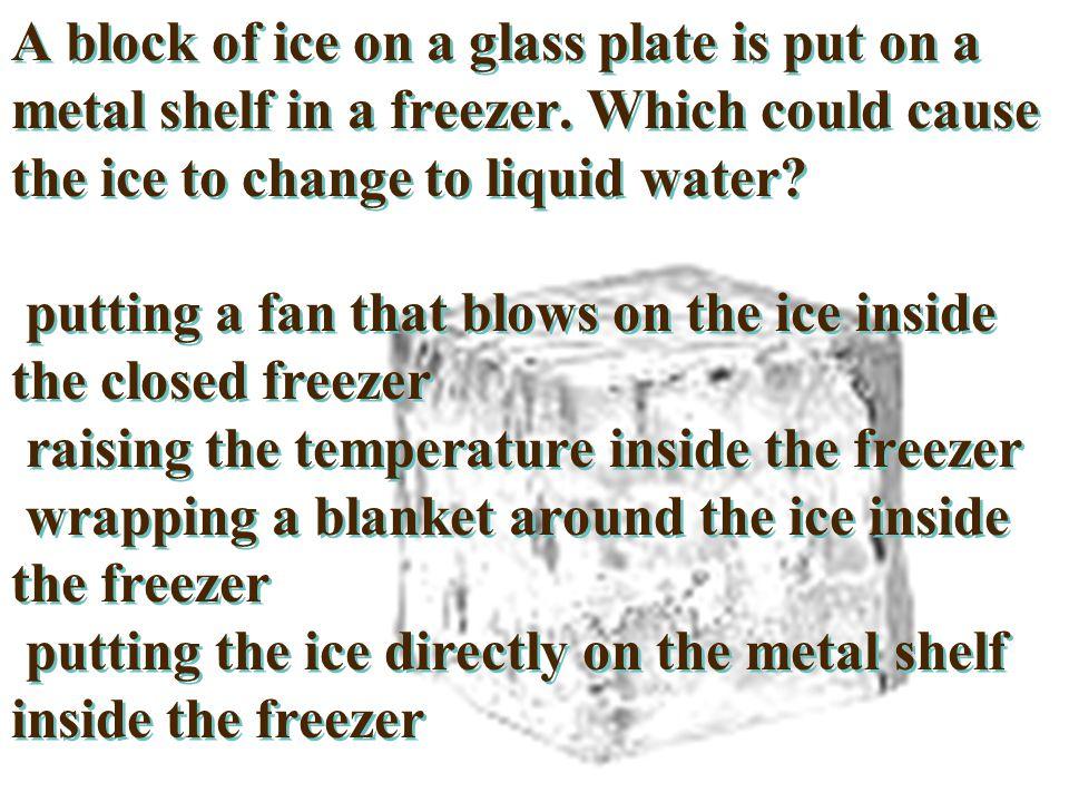 A block of ice on a glass plate is put on a metal shelf in a freezer