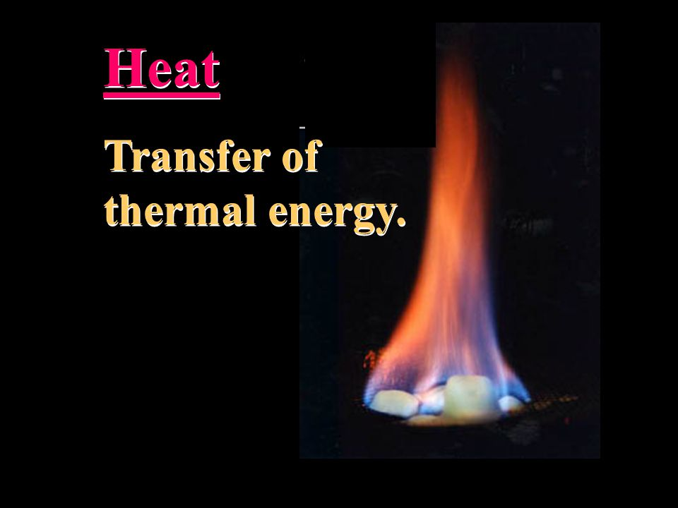 Heat Transfer of thermal energy.