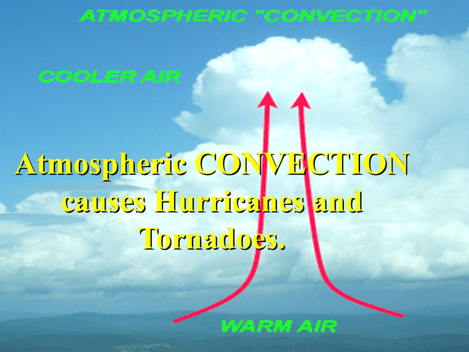 Atmospheric CONVECTION causes Hurricanes and Tornadoes.