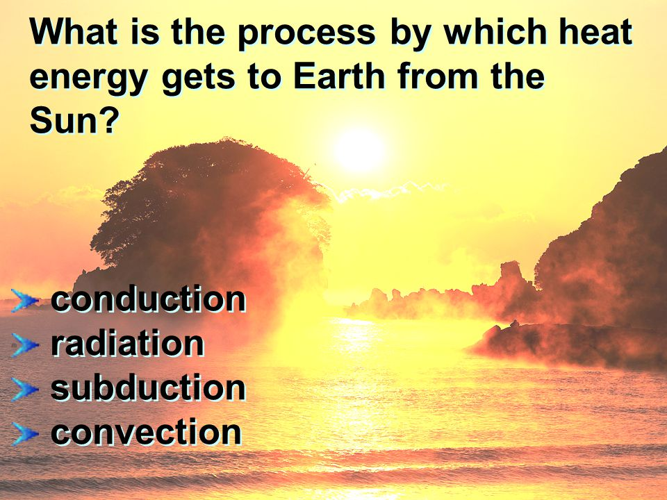 What is the process by which heat energy gets to Earth from the Sun