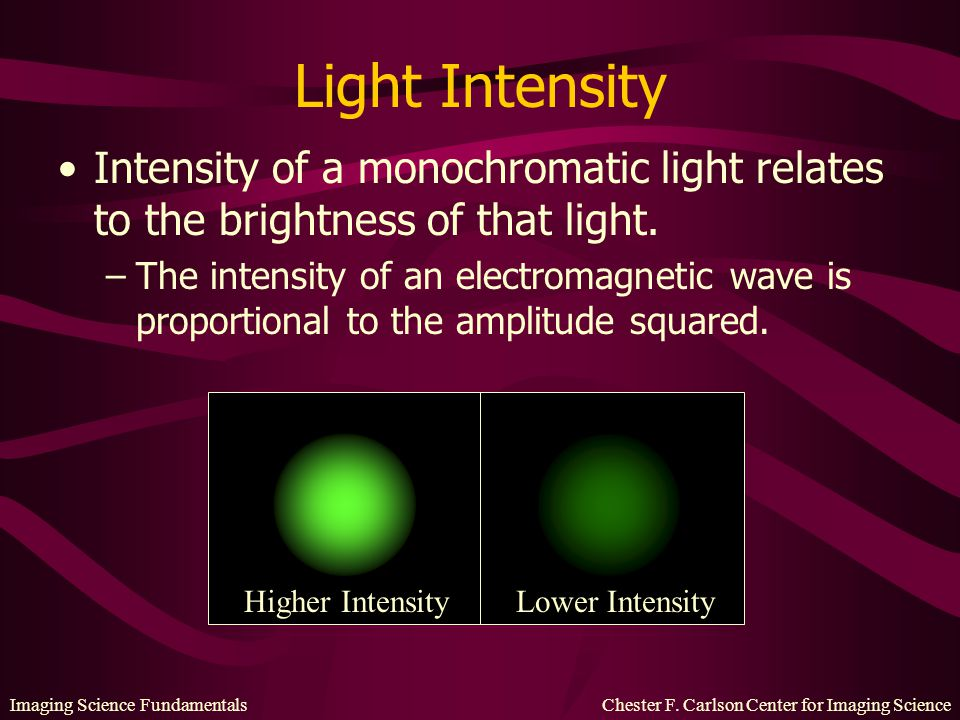 Light Intensity Intensity of a monochromatic light relates to the brightness of that light.