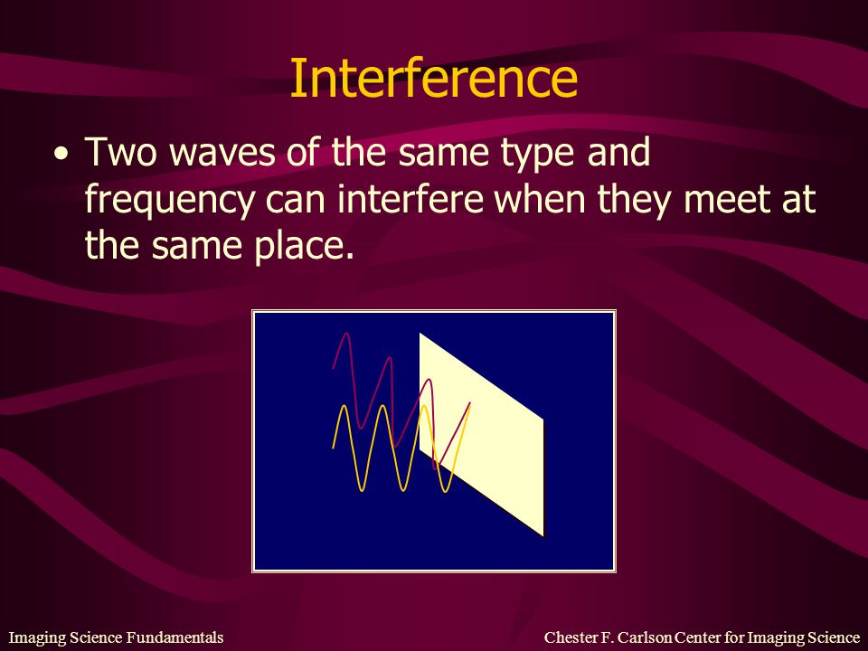 Interference Two waves of the same type and frequency can interfere when they meet at the same place.