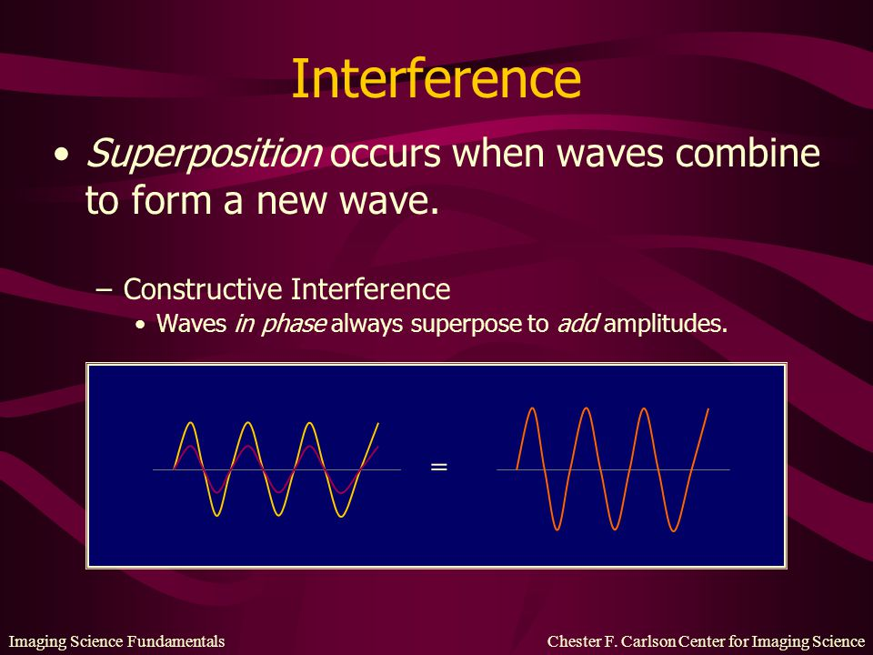 Interference Superposition occurs when waves combine to form a new wave. Constructive Interference.