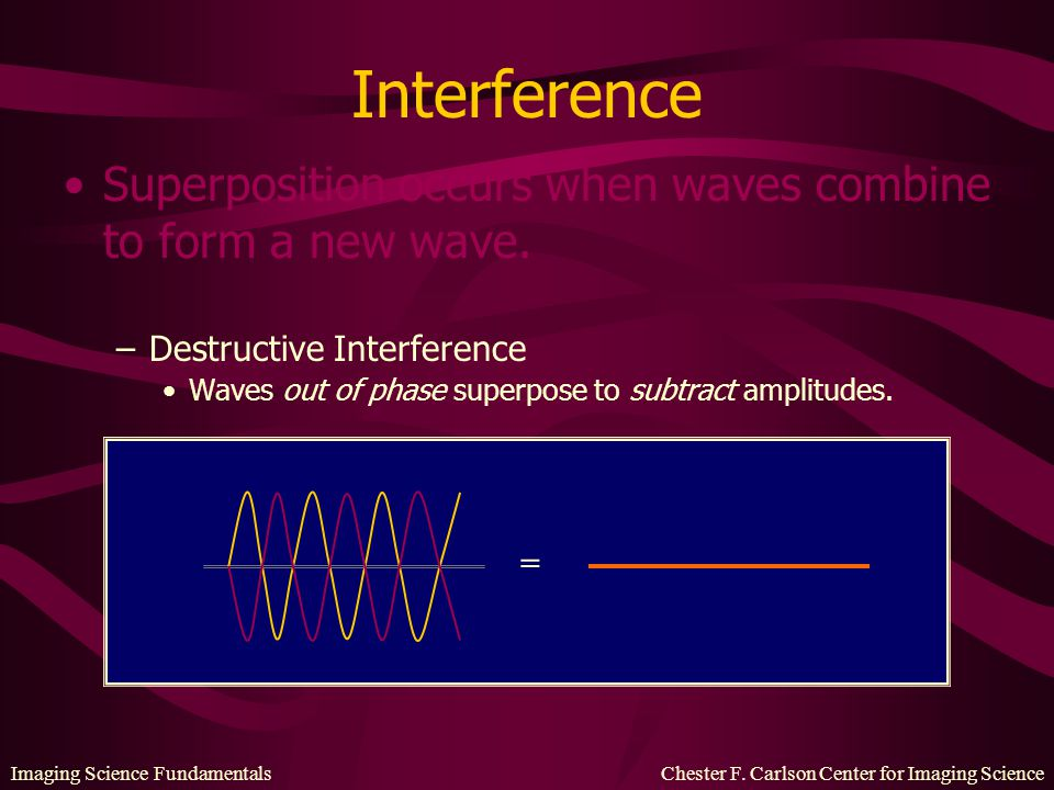 Interference Superposition occurs when waves combine to form a new wave. Destructive Interference.