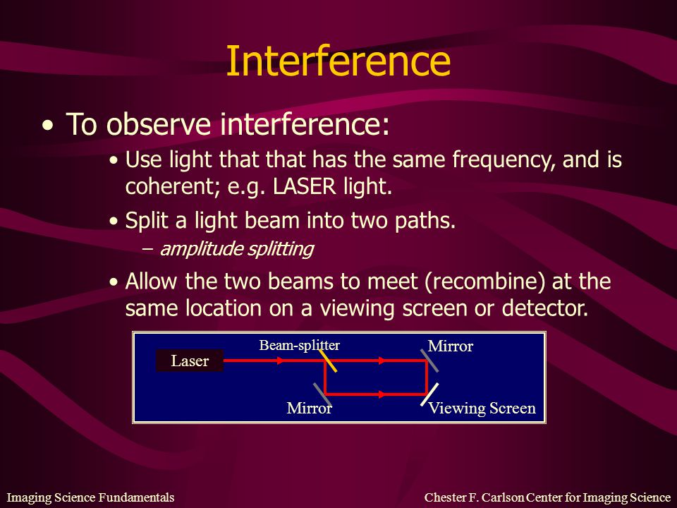 Interference To observe interference: