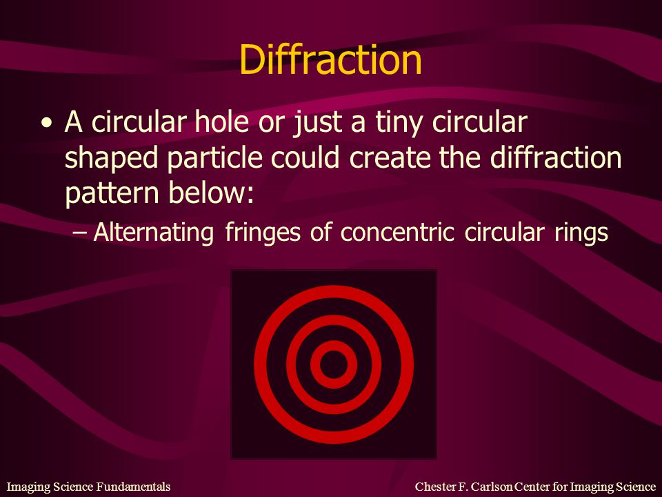 Diffraction A circular hole or just a tiny circular shaped particle could create the diffraction pattern below: