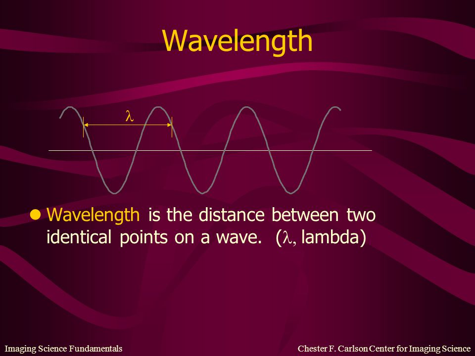 Wavelength  Wavelength is the distance between two identical points on a wave. (,lambda)