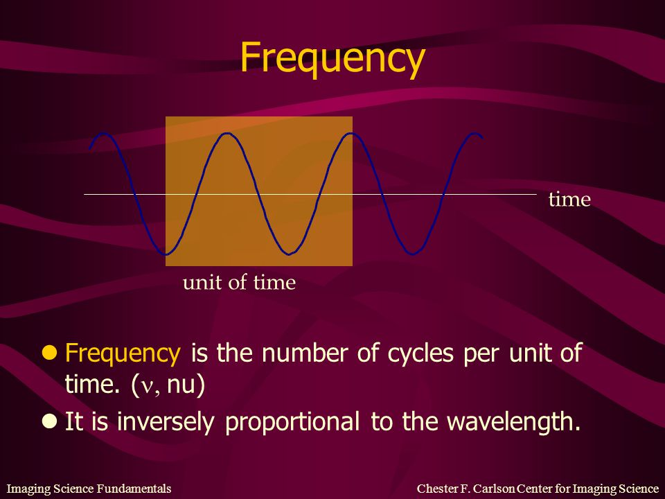 Frequency Frequency is the number of cycles per unit of time. (, nu)