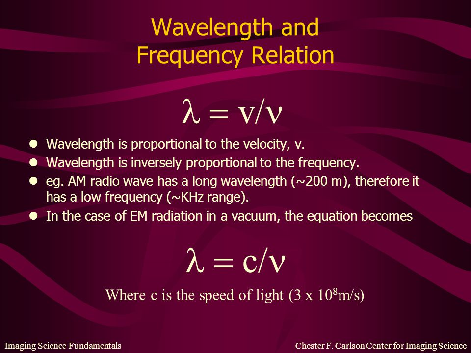 Wavelength and Frequency Relation