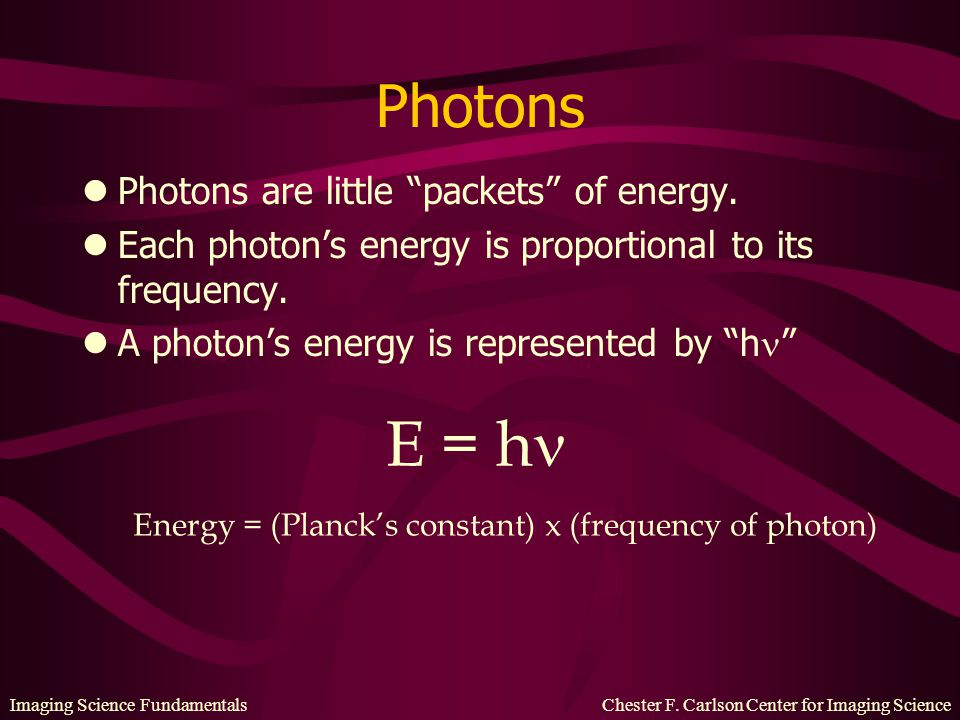 E = h Photons Photons are little packets of energy.