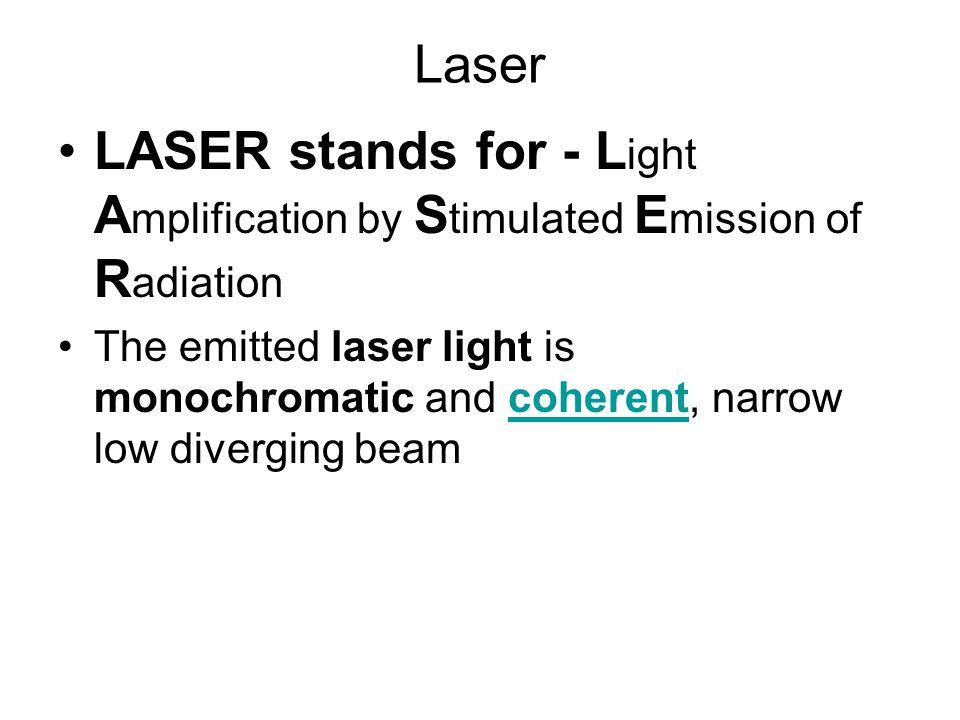 Laser LASER stands for - Light Amplification by Stimulated Emission of Radiation.