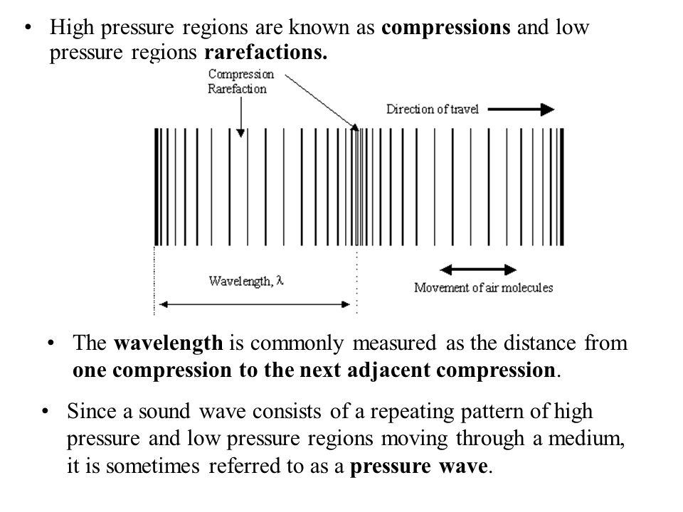 High pressure regions are known as compressions and low pressure regions rarefactions.