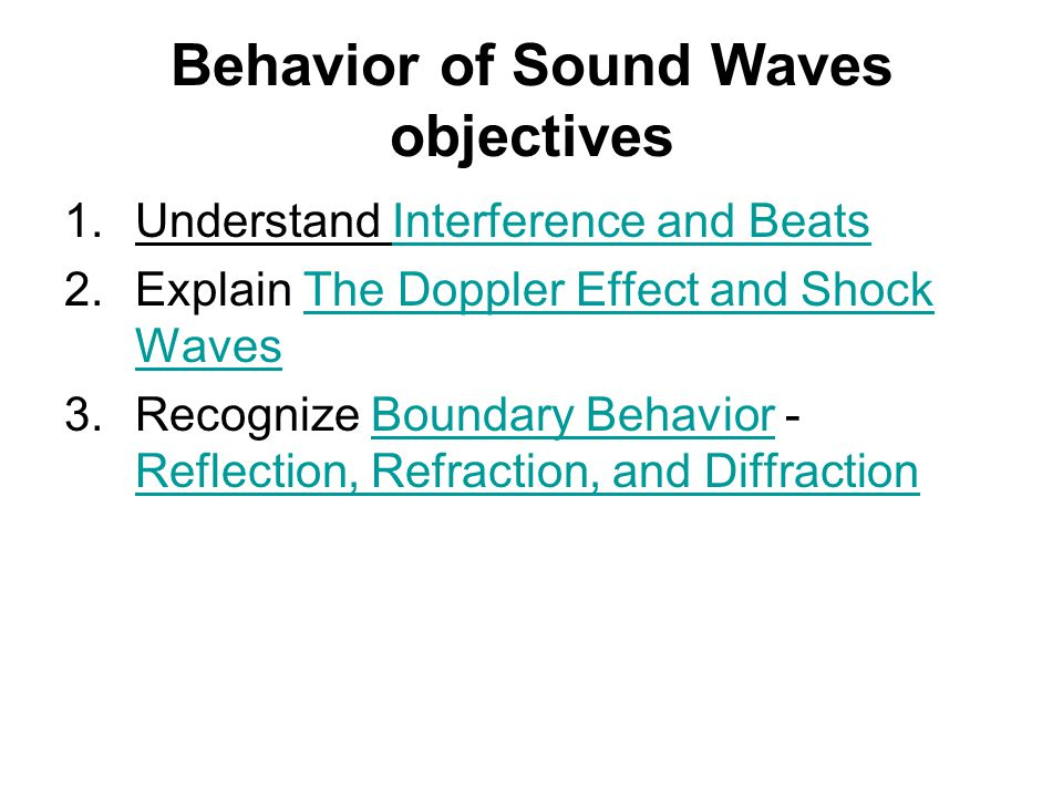 Behavior of Sound Waves objectives