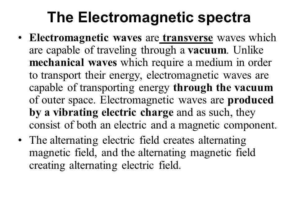 The Electromagnetic spectra